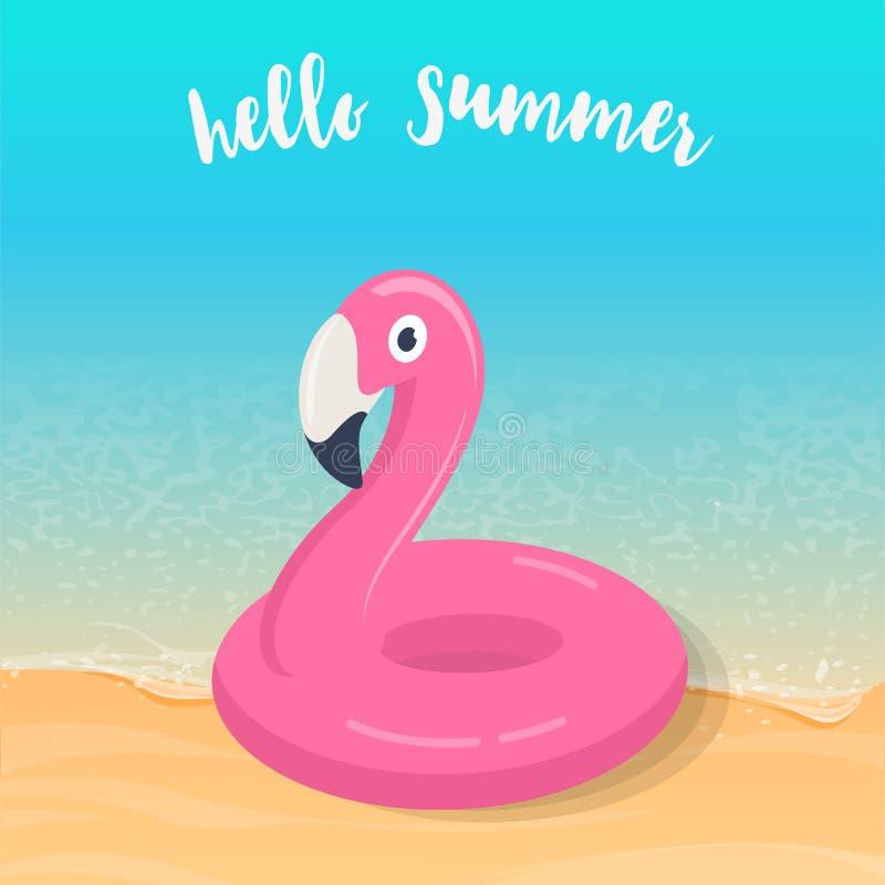 Hello sommar Uppblåsbar pölflöte för rosa flamingo på stranden stock illustrationer