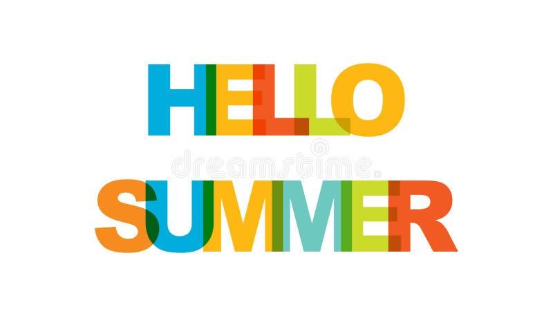 Hello sommar, uttrycksöverlappningsfärg ingen stordia Begrepp av enkel text för typografiaffisch, klistermärkedesign, dräkttryck, stock illustrationer