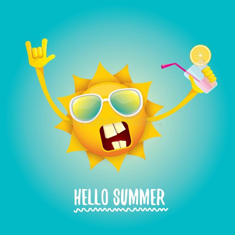 Hello sommar vaggar etiketten eller logo för n-rullvektor royaltyfri illustrationer