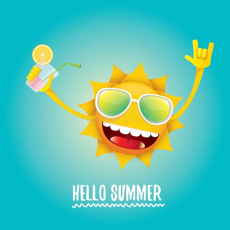 Hello sommar vaggar etiketten eller logo för n-rullvektor vektor illustrationer