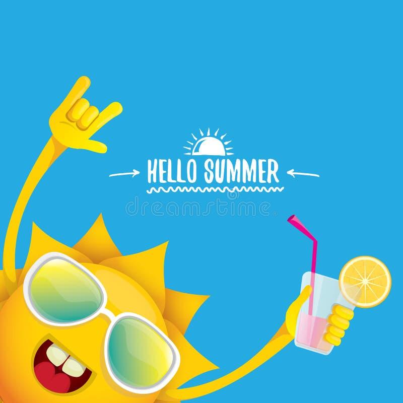 Hello sommar vaggar etiketten eller logo för n-rullvektor bakgrund för sommarcocktailpartyaffisch med det skraj le solteckenet royaltyfri illustrationer