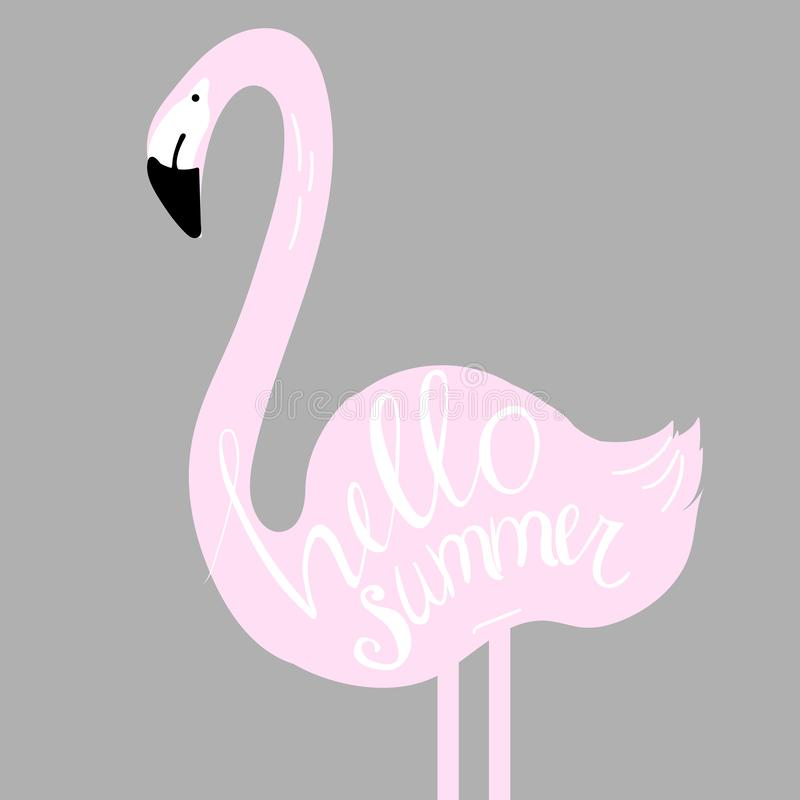 Hello sommar Vektorillustration med flamingo stock illustrationer