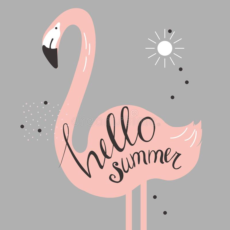Hello sommar Vektorillustration med flamingo royaltyfri illustrationer