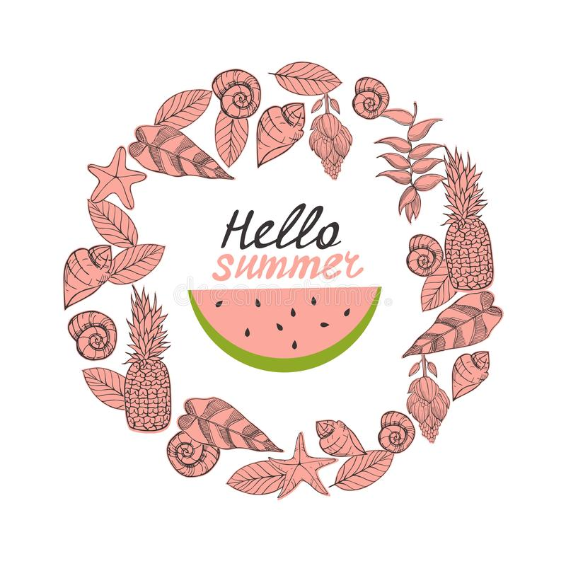Hello sommar! Vektorillustration med vattenmelon royaltyfri illustrationer