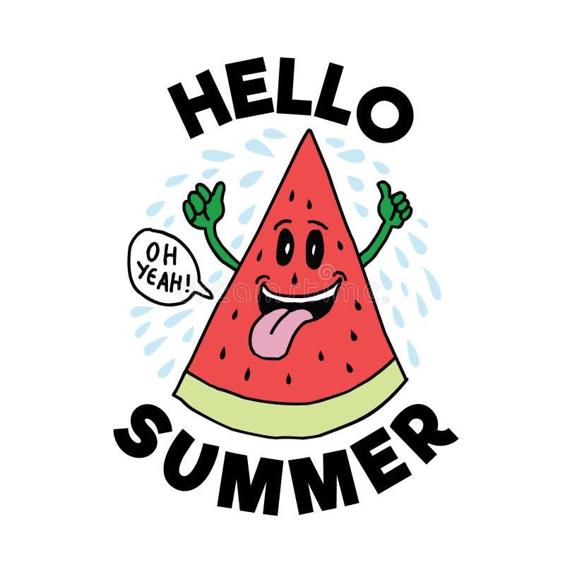 Hello sommar, vektorn som 100% är bästa för tryckdesign som t-skjortan, rånar, inramar och annan stock illustrationer
