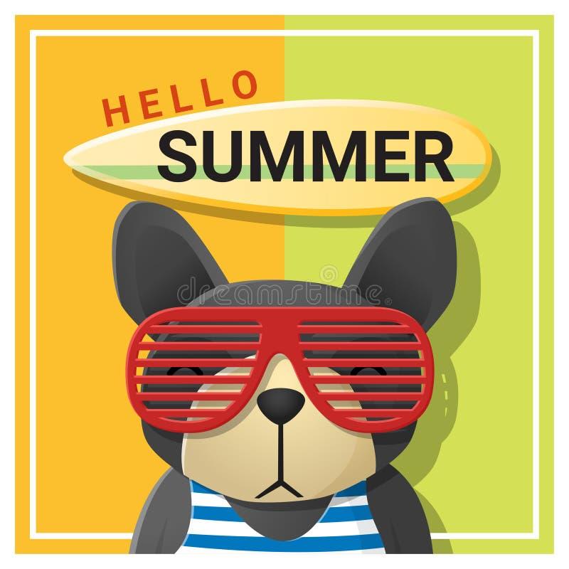 Hello sommarbakgrund med bärande solglasögon för hund royaltyfri illustrationer