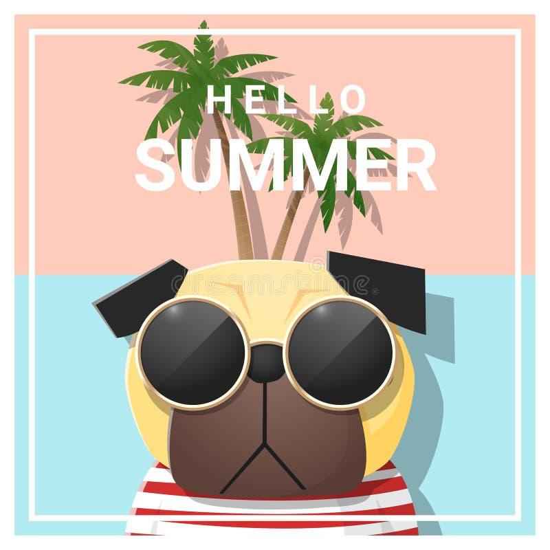 Hello sommarbakgrund med bärande solglasögon för hund stock illustrationer