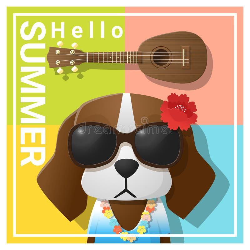 Hello sommarbakgrund med bärande solglasögon för hund vektor illustrationer