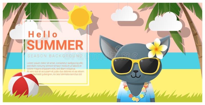 Hello sommarbakgrund med bärande solglasögon för katt stock illustrationer