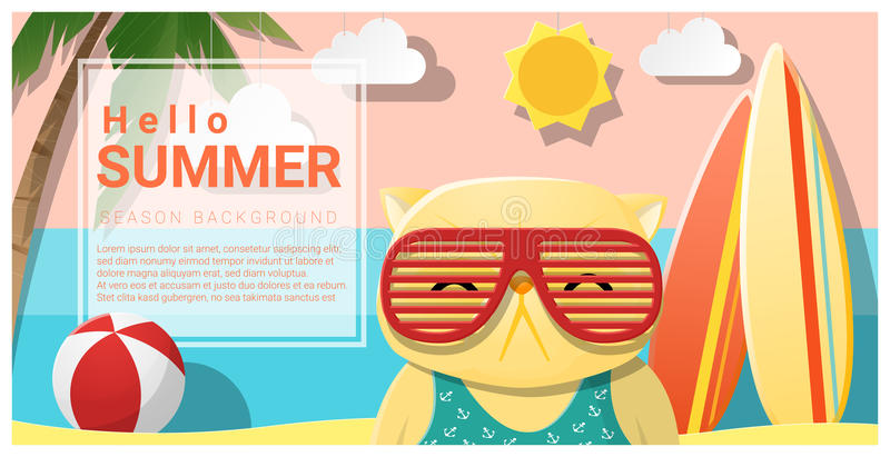 Hello sommarbakgrund med bärande solglasögon för katt vektor illustrationer