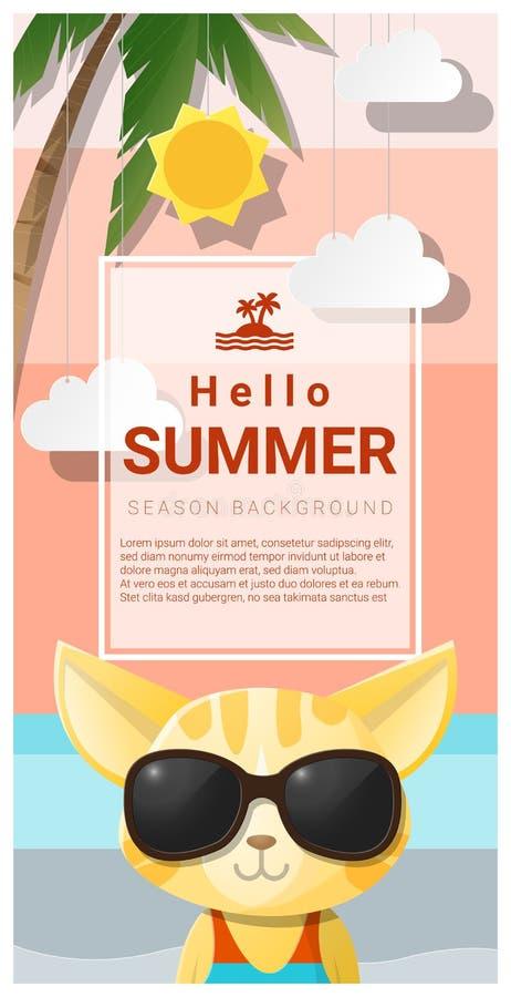 Hello sommarbakgrund med bärande solglasögon för katt royaltyfri illustrationer