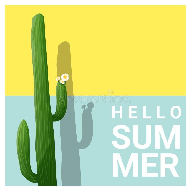 Hello sommarbakgrund med kaktuns royaltyfri illustrationer