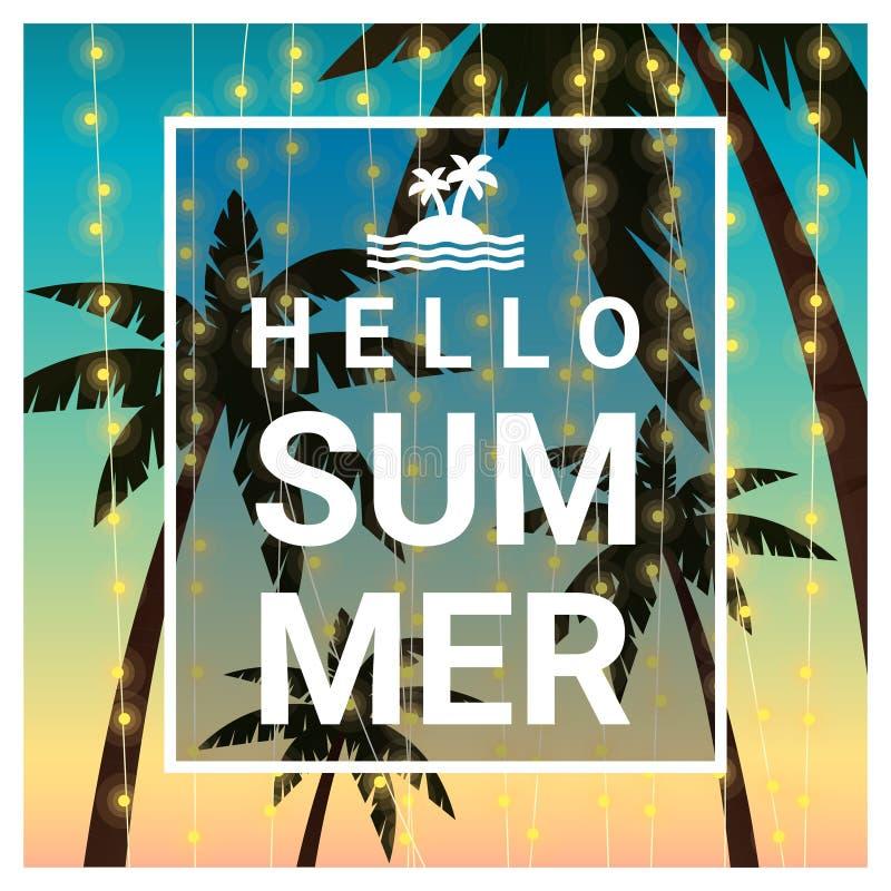 Hello sommarbakgrund med palmträd på den tropiska stranden royaltyfri illustrationer