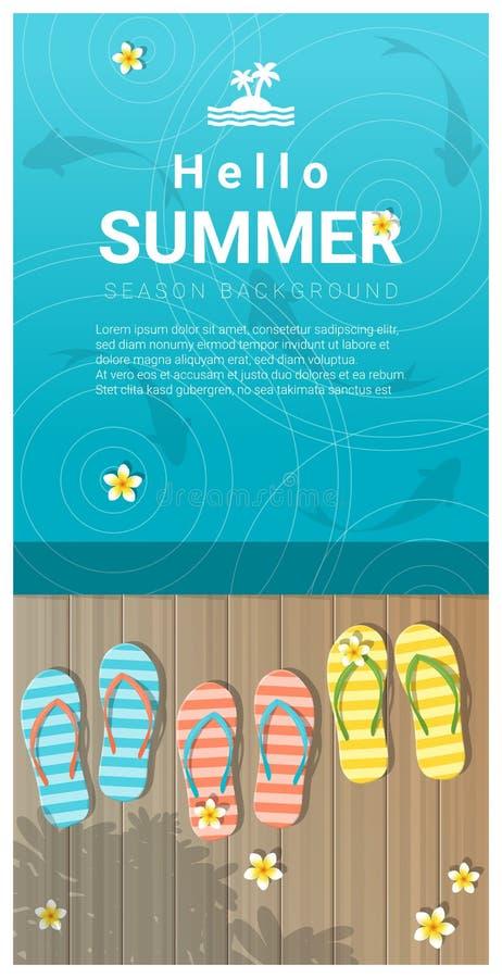 Hello sommarbakgrund med sandaler på träpir vektor illustrationer