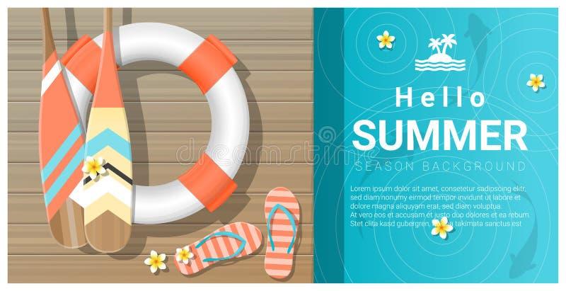 Hello sommarbakgrund med träpir över havet royaltyfri illustrationer
