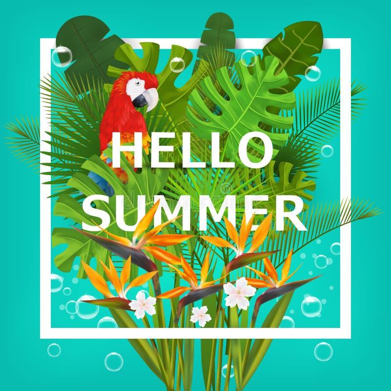 Hello sommarbakgrund med tropiska växter och blommor För typografisk baner, affisch, partiinbjudan vektor vektor illustrationer