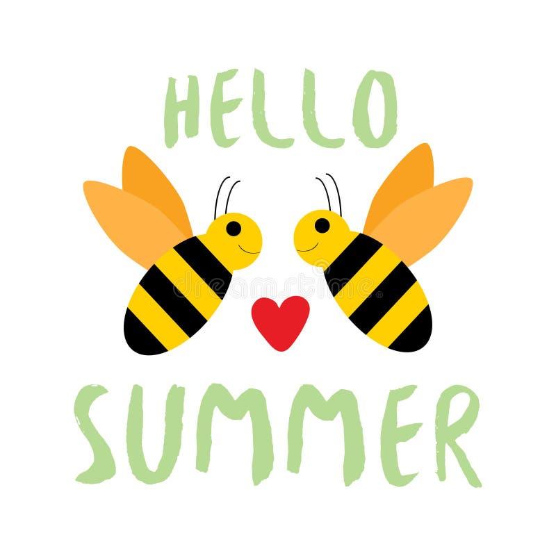 Hello sommarbaner med det älskvärda biet Inspirerande affisch och kort, tryck för textil royaltyfri illustrationer
