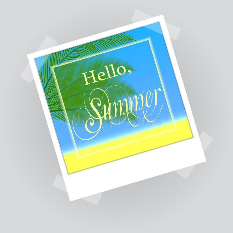 Hello sommarbokstäver i fotoram vektor illustrationer