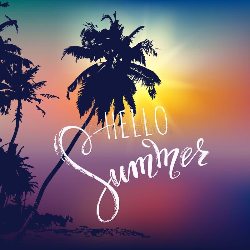 Hello sommarbokstäver Tropiskt gömma i handflatan, solnedgångbakgrund stock illustrationer