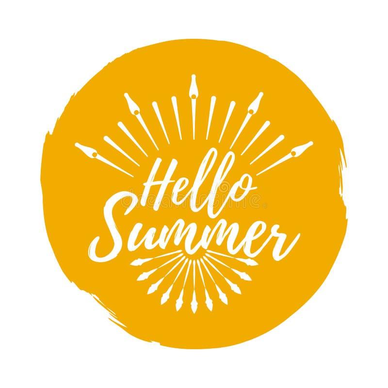 Hello sommaretikett Stilsort med borsten Sommar- och strandemblem Ve stock illustrationer