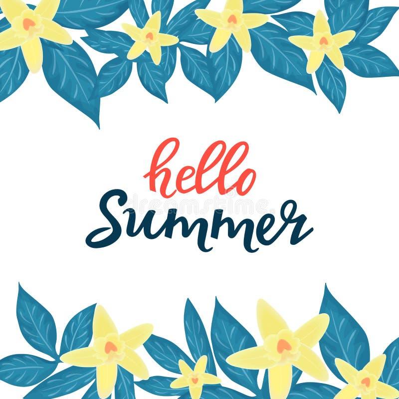 Hello sommarförsäljning som annonserar säsongsbetonade rabatter Blom- affischer eller banerdesign med gula orkid stock illustrationer