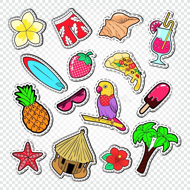 Hello sommarklotter Strandsemesterklistermärkear, förser med märke och lappar med palmträdet, papegojan och bränning royaltyfri illustrationer