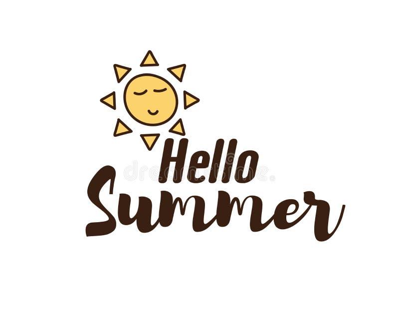 Hello sommartext med solklotter Dragen design för vektor hand med kalligrafi Le för soltecknad filmtecken royaltyfri illustrationer