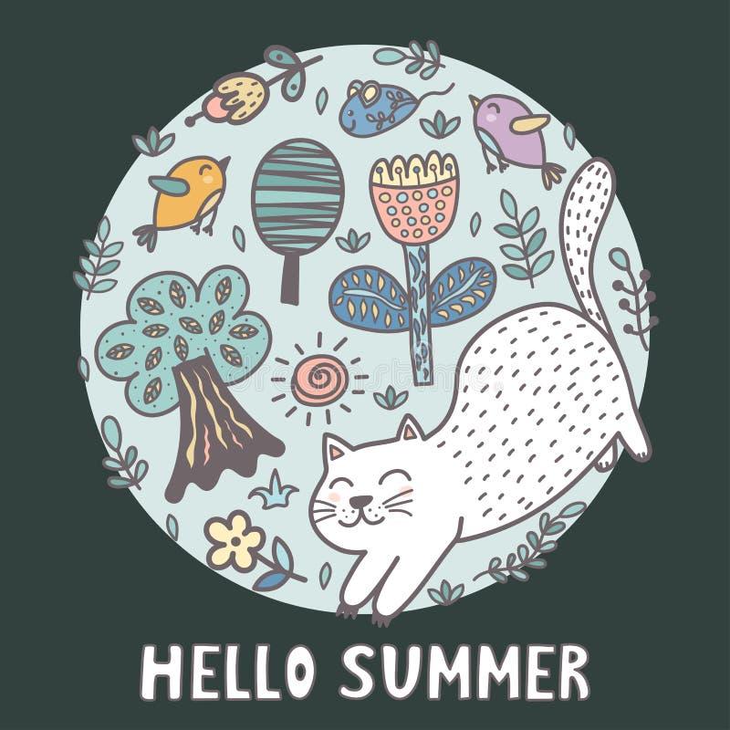 Hello sommartryck med en gullig katt stock illustrationer