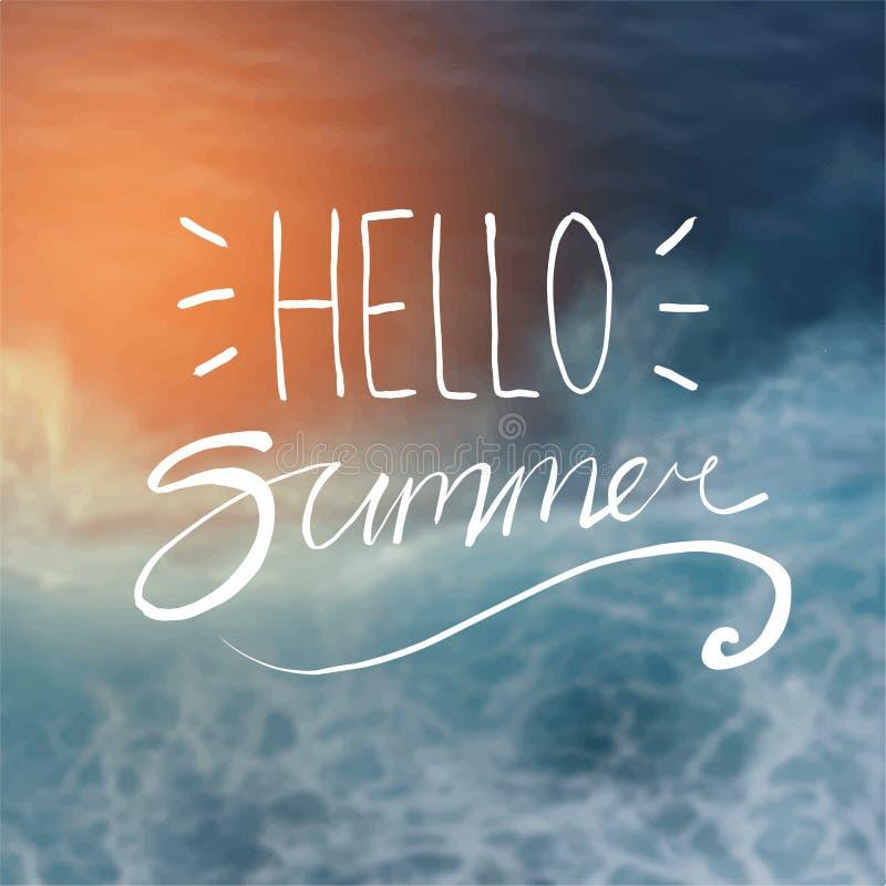 Hello sommartypografi på suddigt mörker för solsken - blå strand tillbaka vektor illustrationer