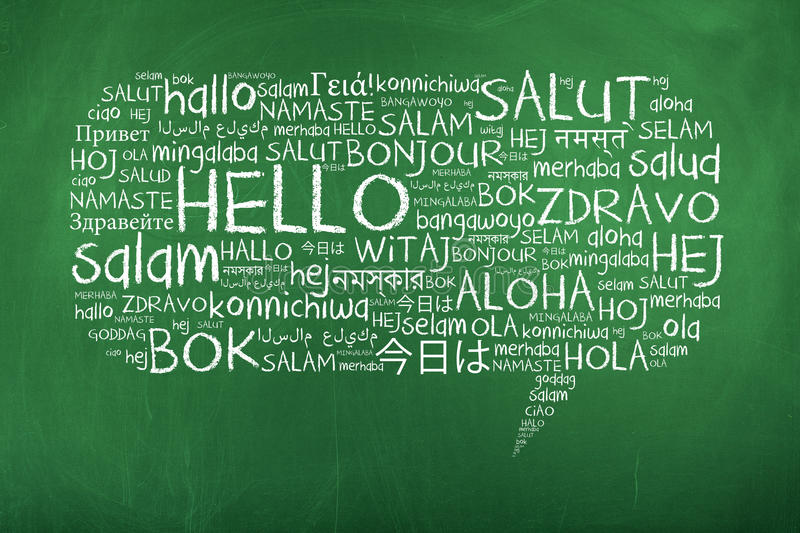 Hello Speech Bubble in Different Languages stock image