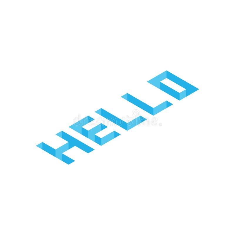 Hello spela golfboll i hål blå isometrisk bakgrund arkivbild