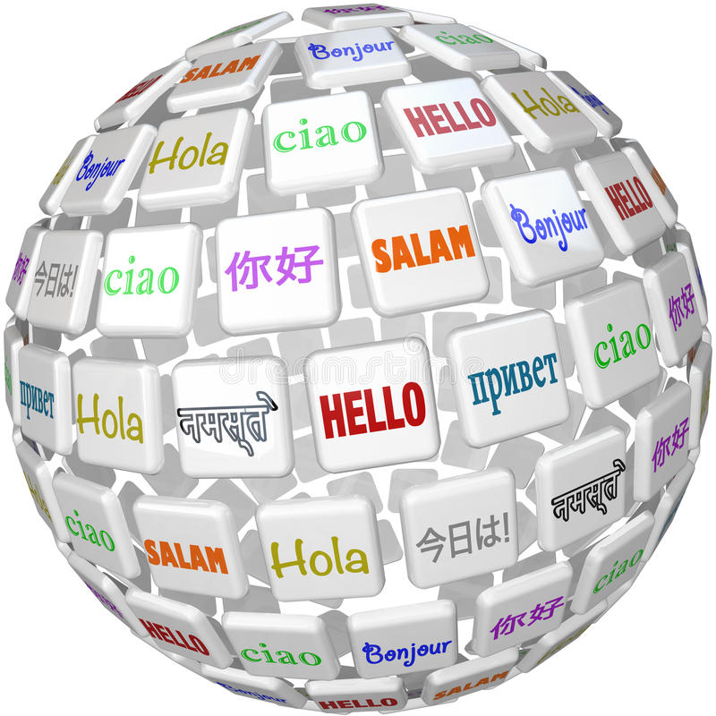 Hello Sphere Word Tiles Global Languages Cultures. A sphere of word tiles with the word Hello in different languages representing peace among the cultures of the vector illustration