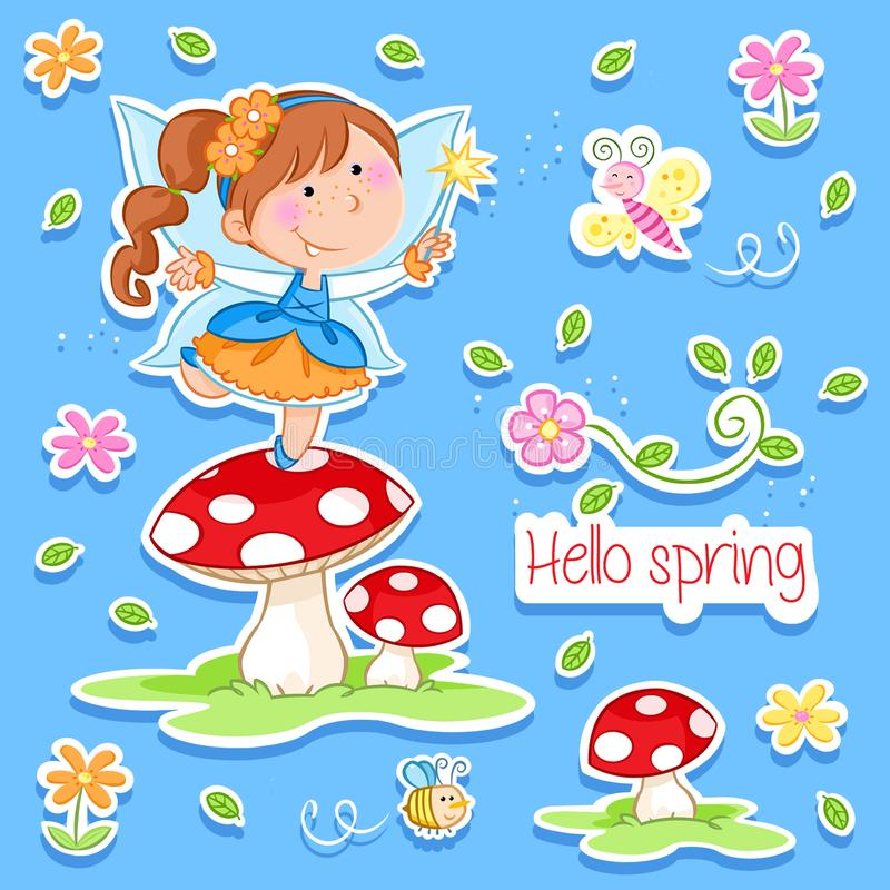 Hello Spring - Adorable little fairy and spring garden royalty free illustration