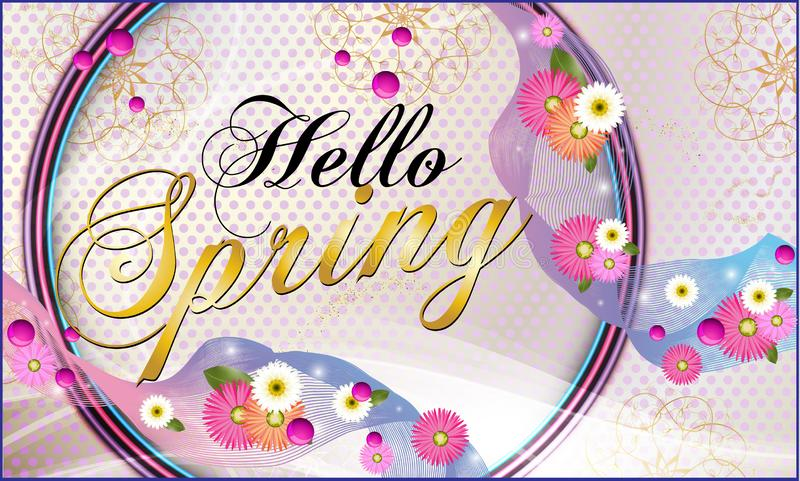 Hello spring, background with beautiful flowers. Vector illustration royalty free illustration
