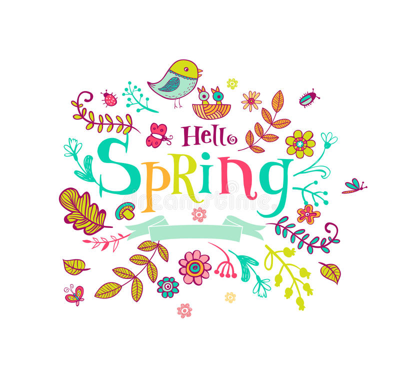 Hello Spring Banner In Doodle Style Stock Vector ...