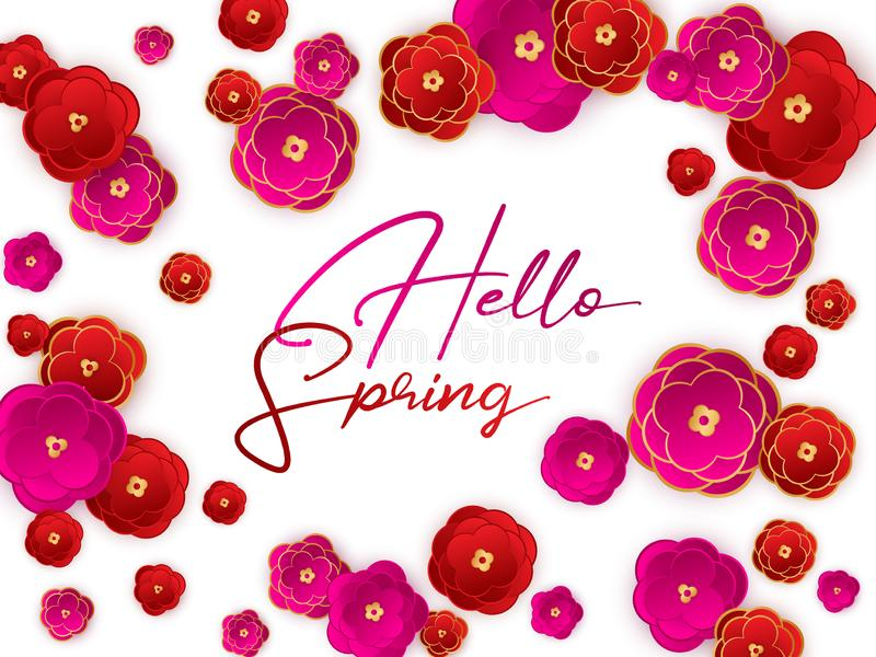Hello spring banner, red flowers background. royalty free illustration