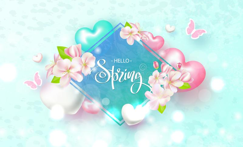 Hello Spring. Beautiful Background with flowers, hearts and butterflies. Vector illustration . vector illustration