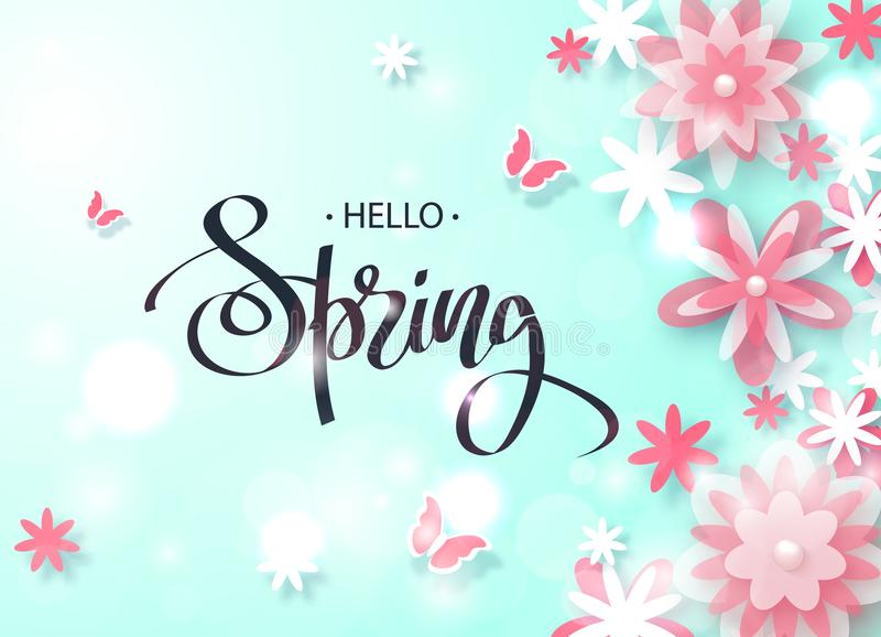 Hello Spring. Beautiful Background with paper flowers and butterflies. Vector illustration . stock illustration