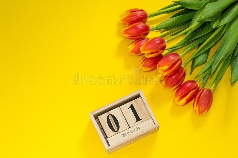 Hello, spring! Beggining of spring. Bright woman flat lay of red tulip flowers and wooden calendar with date of 1 march. Copy stock photos