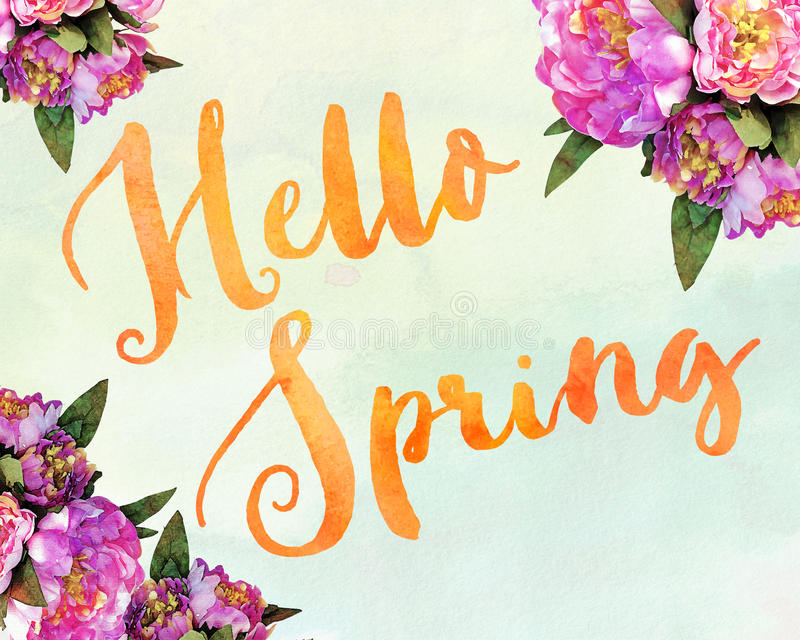Download Hello Spring Stock Illustration. Illustration Of Card   50725426