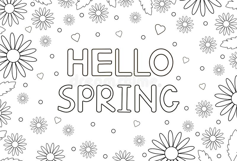 Hello Spring Coloring Page Black And White Vector