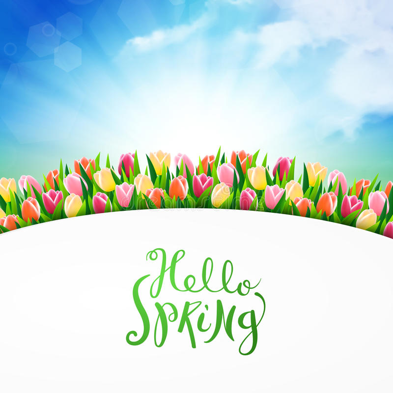 Download Hello Spring Card Stock Vector. Illustration Of Beach   68622438