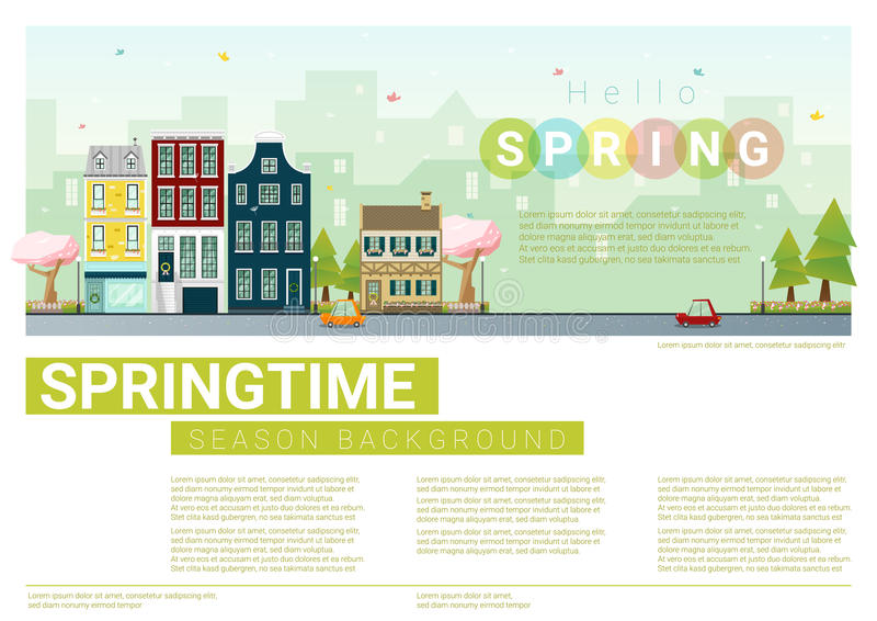 Download Hello Spring Cityscape Background Stock Vector - Illustration of hotel, colorful: 83712631
