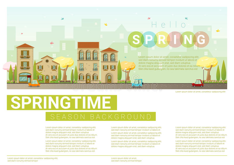 Download Hello Spring Cityscape Background Stock Vector - Illustration of design, building: 83714037