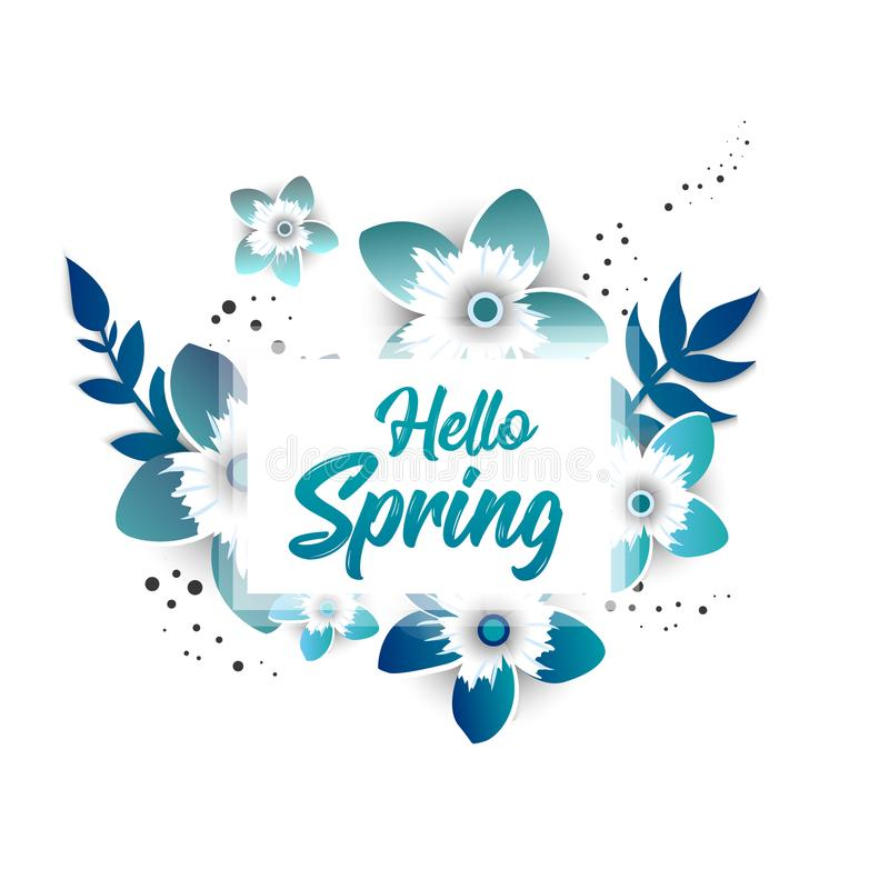Hello Spring Concept banner with flowers vector illustration