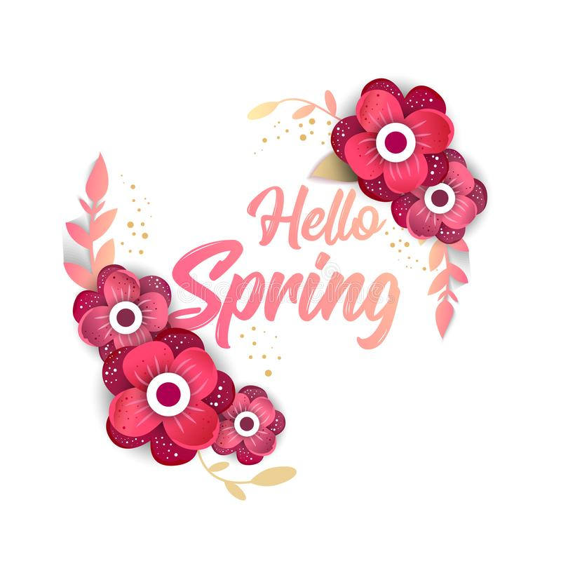 Hello Spring Concept banner with flowers stock illustration
