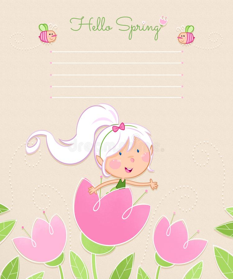Hello Spring - Cute flower fairy and the bees vector illustration