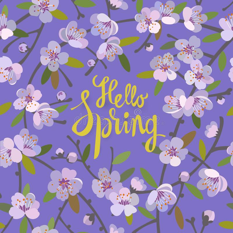 Hello Spring floral background for spring season with blooming apple tree branches. Promotion offer with floral decoration. royalty free illustration