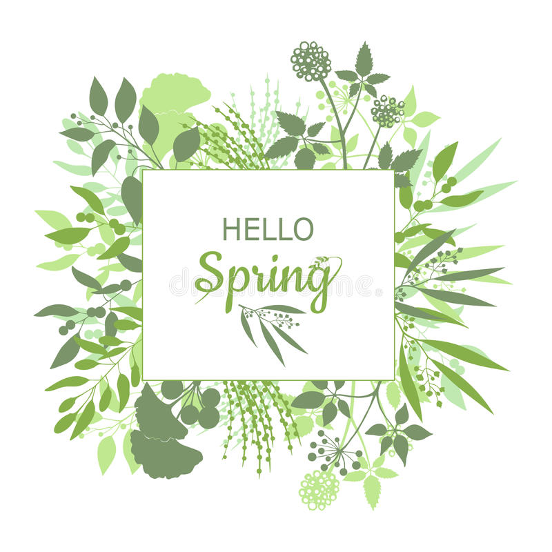 Download Hello Spring Green Card Design With Text In Square Floral Frame  Stock Vector   Illustration