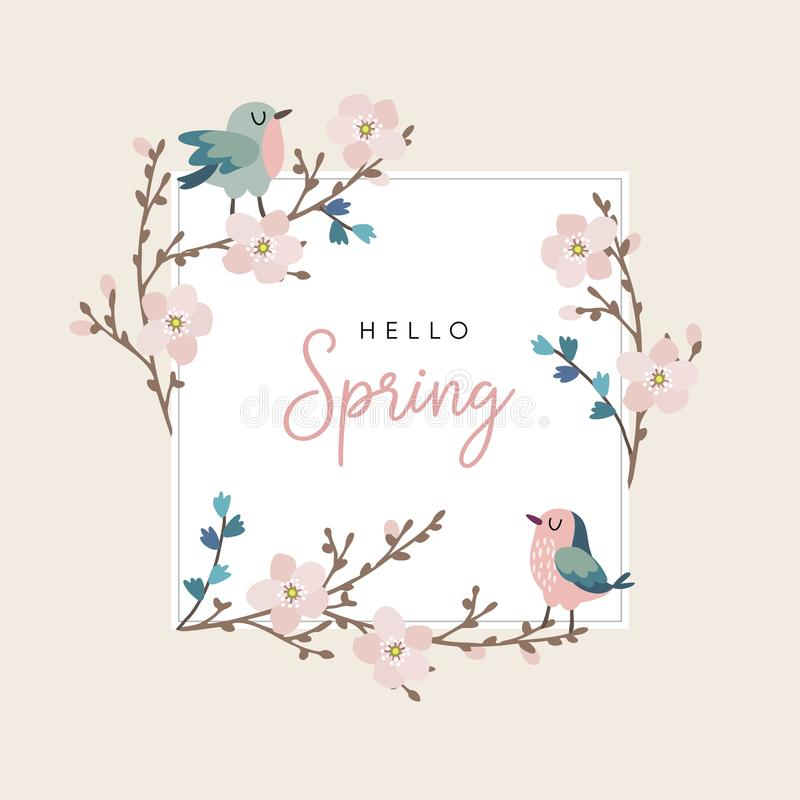 Hello spring greeting card, invitation with cute hand drawn birds and cherry tree branches with pink blossoms. Easter vector illustration